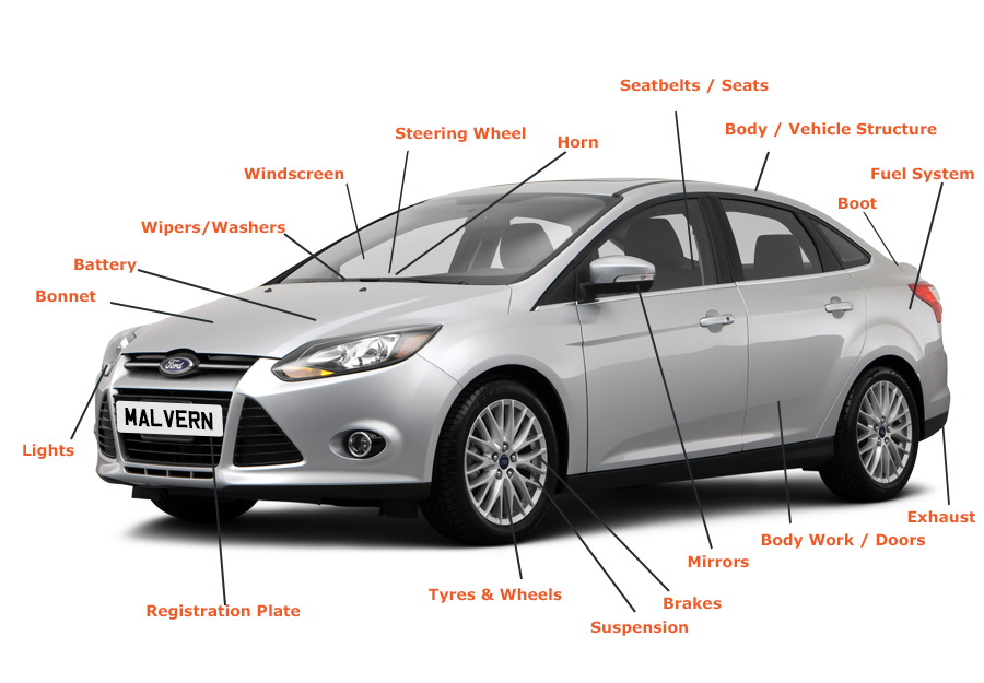 All the components of your vehicle subject to investigation during the MOT test
